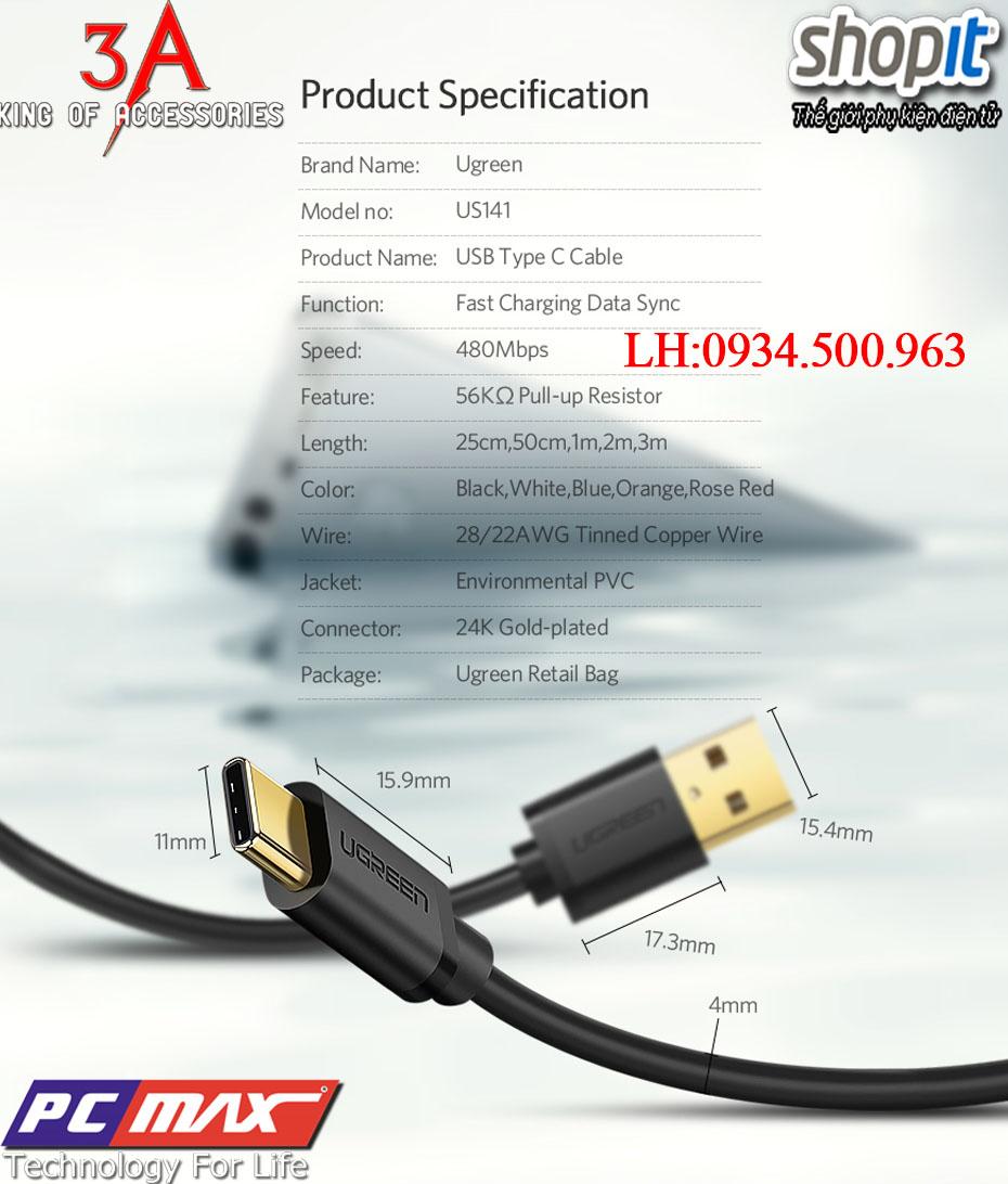 Cáp chuyển đổi USB 2.0 to USB 3.1 Type-C chính hãng Ugreen 30167
