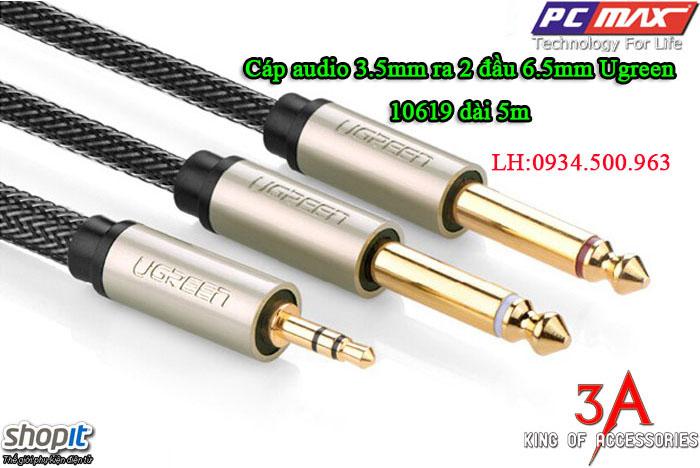 Cáp âm thanh 3.5mm to 2 đầu 6.5mm dài 5m chính hãng Ugreen 10619