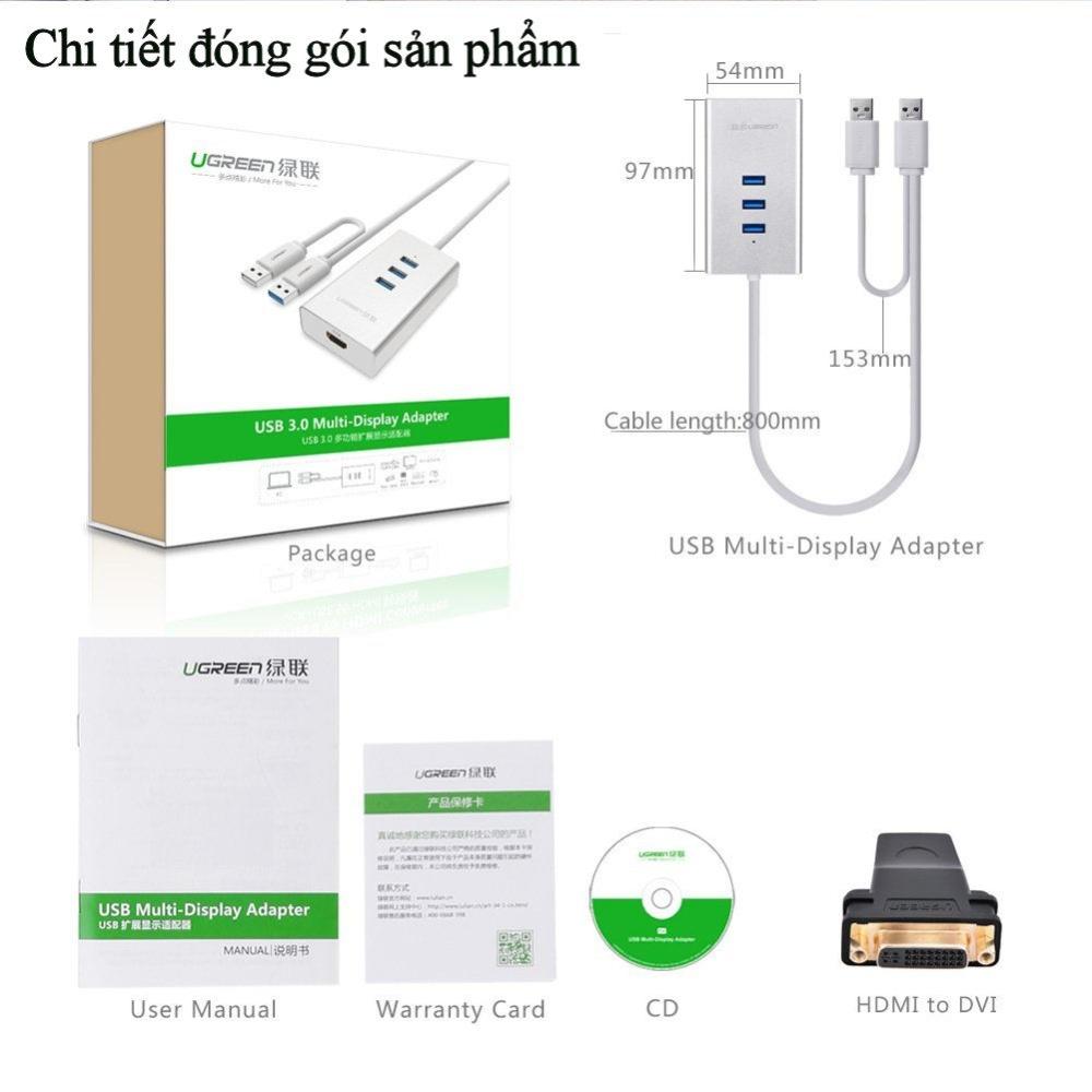 Cáp chuyển đổi USB 3.0 to HDMI và hub 3 cổng USB 3.0 dài 80CM UGREEN 40257