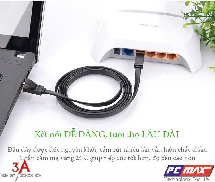 Cáp mạng Cat7 UTP 2 đầu đúc Patch Cords dẹt dài 2M chính hãng UGREEN 11261
