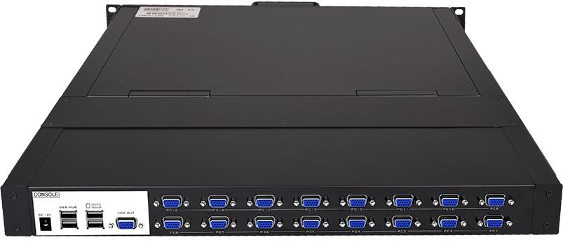 LCD KVM Switch 16 công VGA có cổng IP tích hợp màn hình LCD 19 Inch chính hãng MT-1916UL-IP