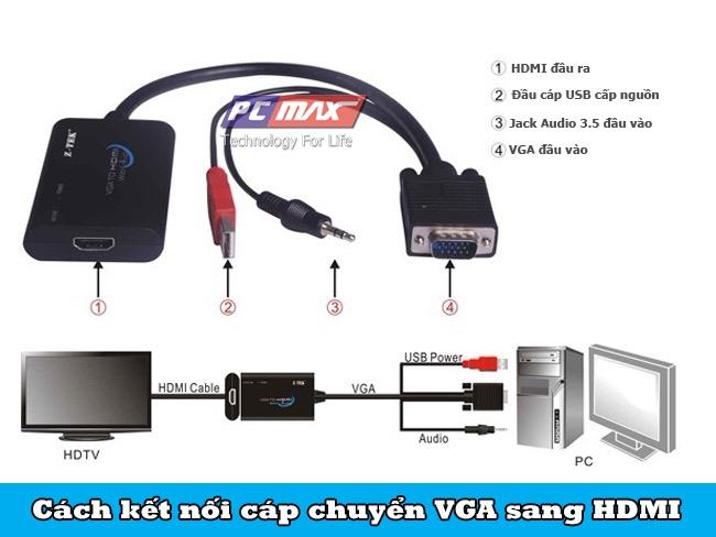 Hướng dẫn kết nối cáp chuyển VGS sang HDMI