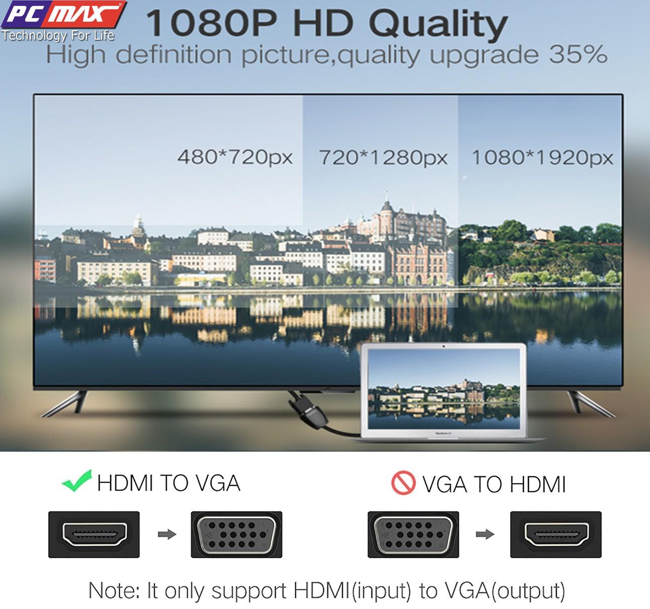 Cáp chuyển đổi HDMI Sang VGA không hỗ trợ audio Ugreen 40253 - Hàng chính hãng