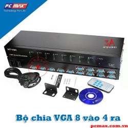 Switch and Spliter VGA 8 in 4 out 350Mhz MT-VIKI MT-804CH - Hàng chính hãng