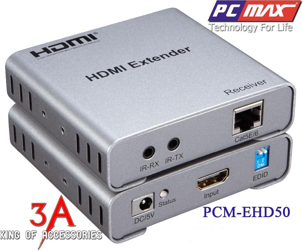 Bộ kéo dài , khuếch đại tín hiệu HDMI bằng dây mạng có IR 50m chính hãng PCMAX PCM-EHD50